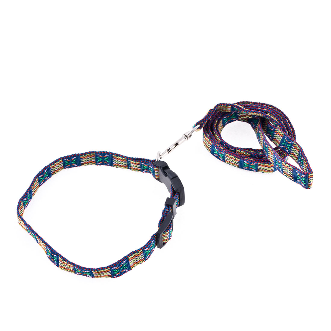 "Adjustable 0.6"" Width Strap Multicolor Dog Collar Halter Leash Lead"