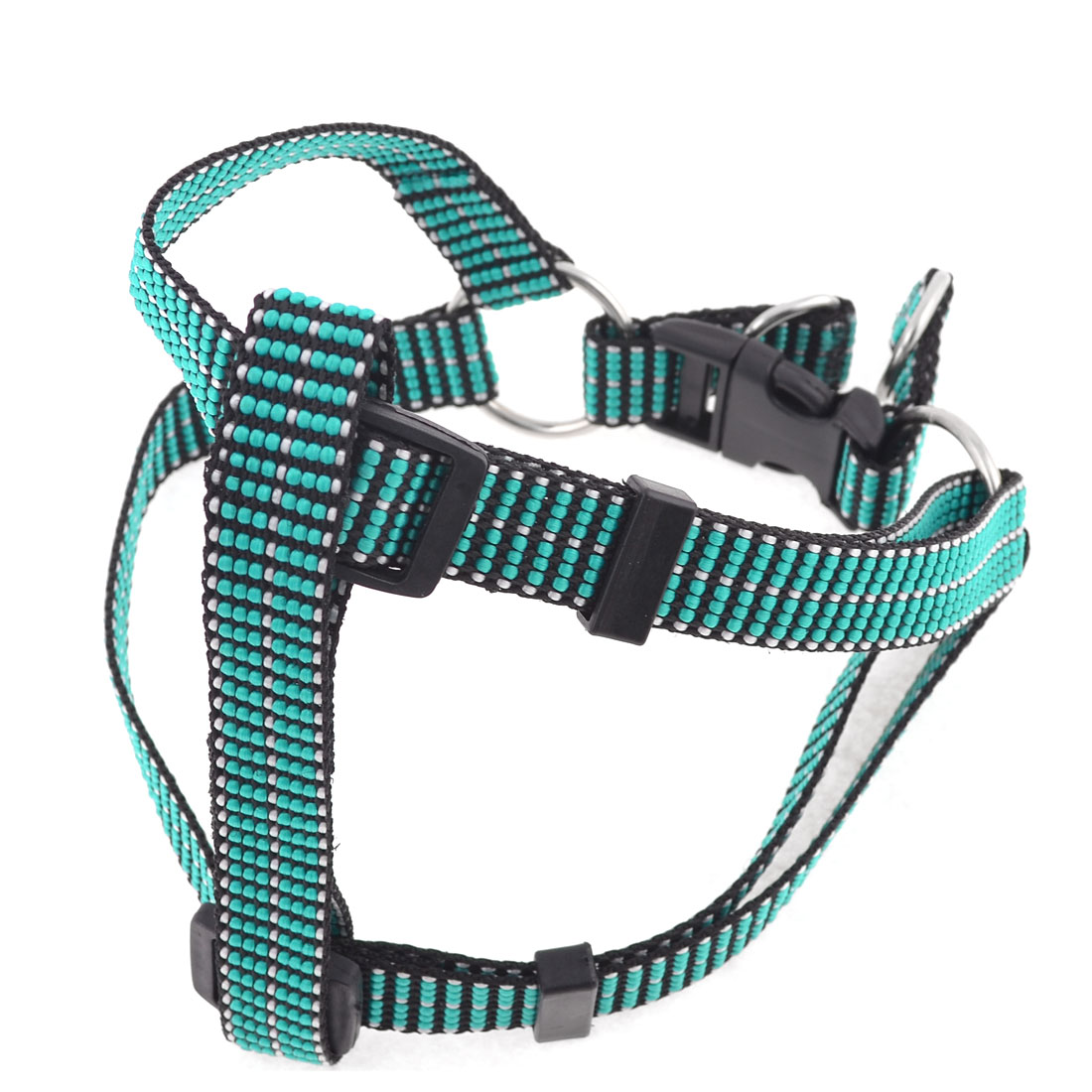 Seagreen Nylon Braided Adjustable Pet Dog Chest Strap Collar Harness Size L