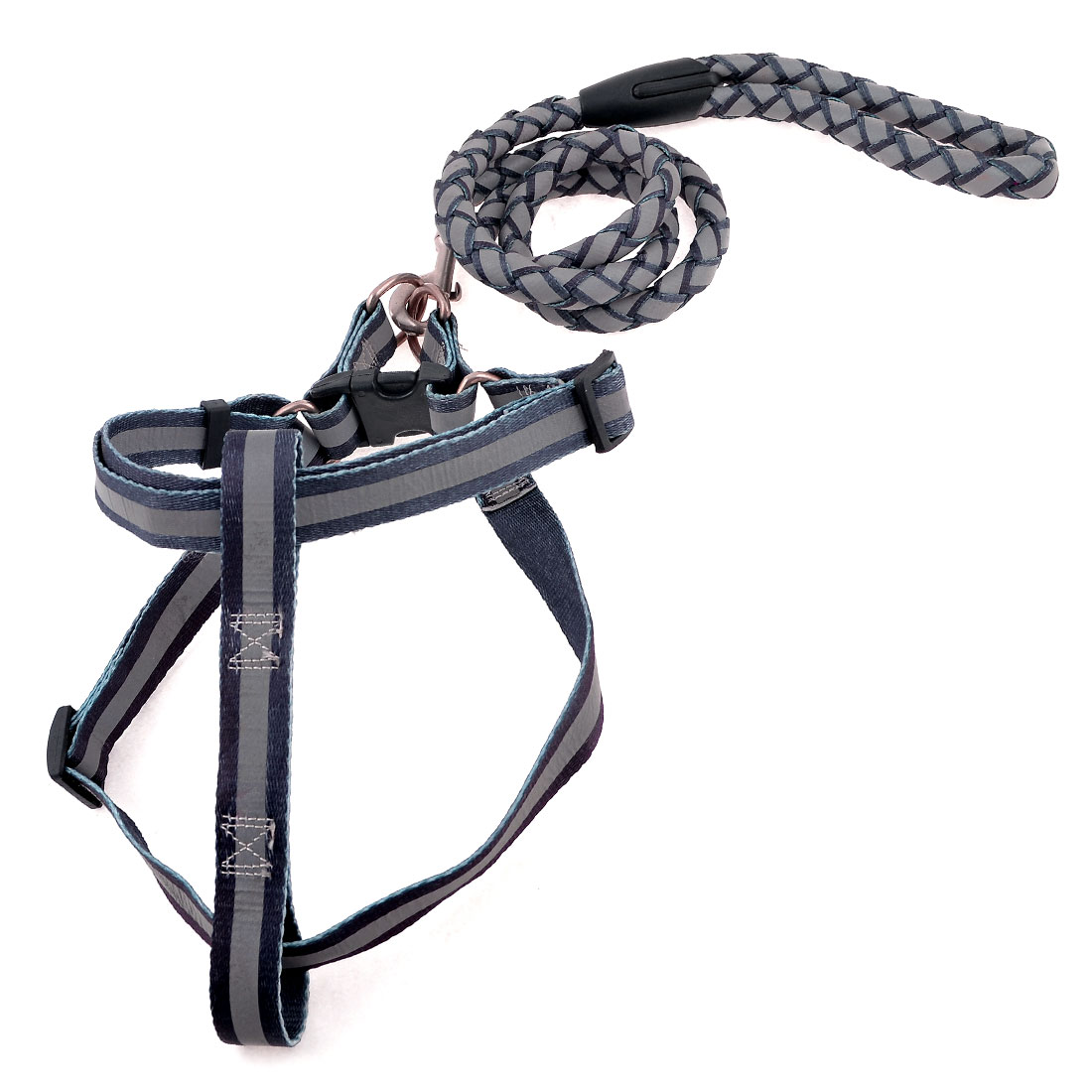 Brown Gray Nylon Traction Rope Adjustable Reflective Dog Harness Leash Lead