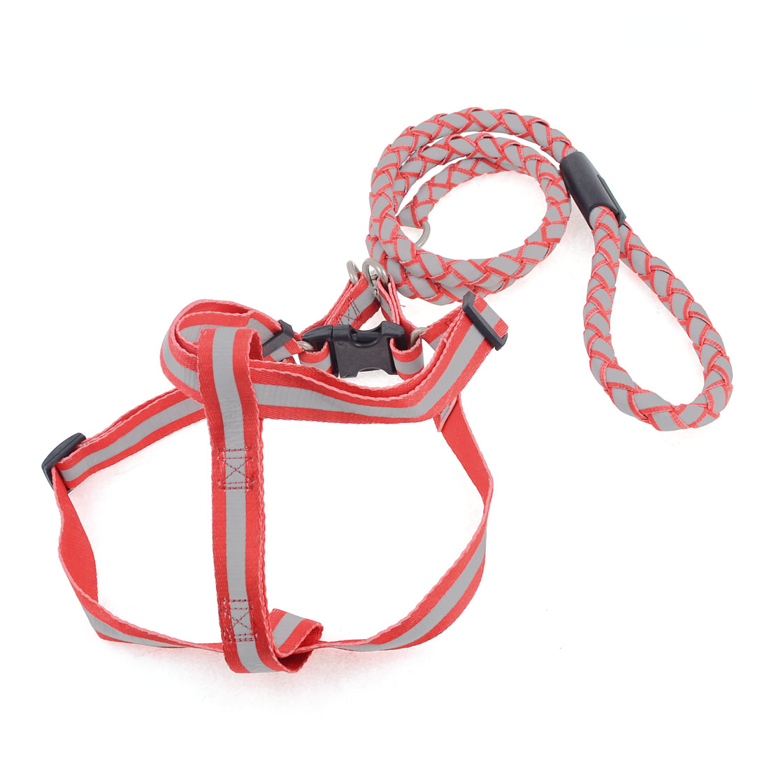 118cm Length Nylon Rope Braided Reflective Pet Dog Harness Leash Red Gray