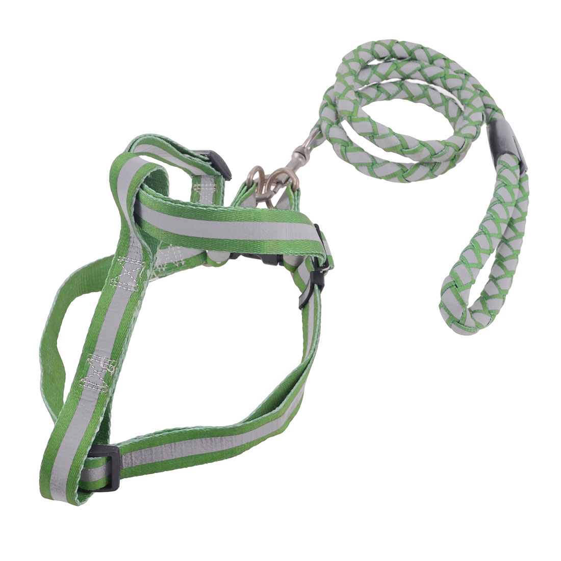 Green Gray Nylon Traction Rope Adjustable Reflective Dog Harness Leash Lead