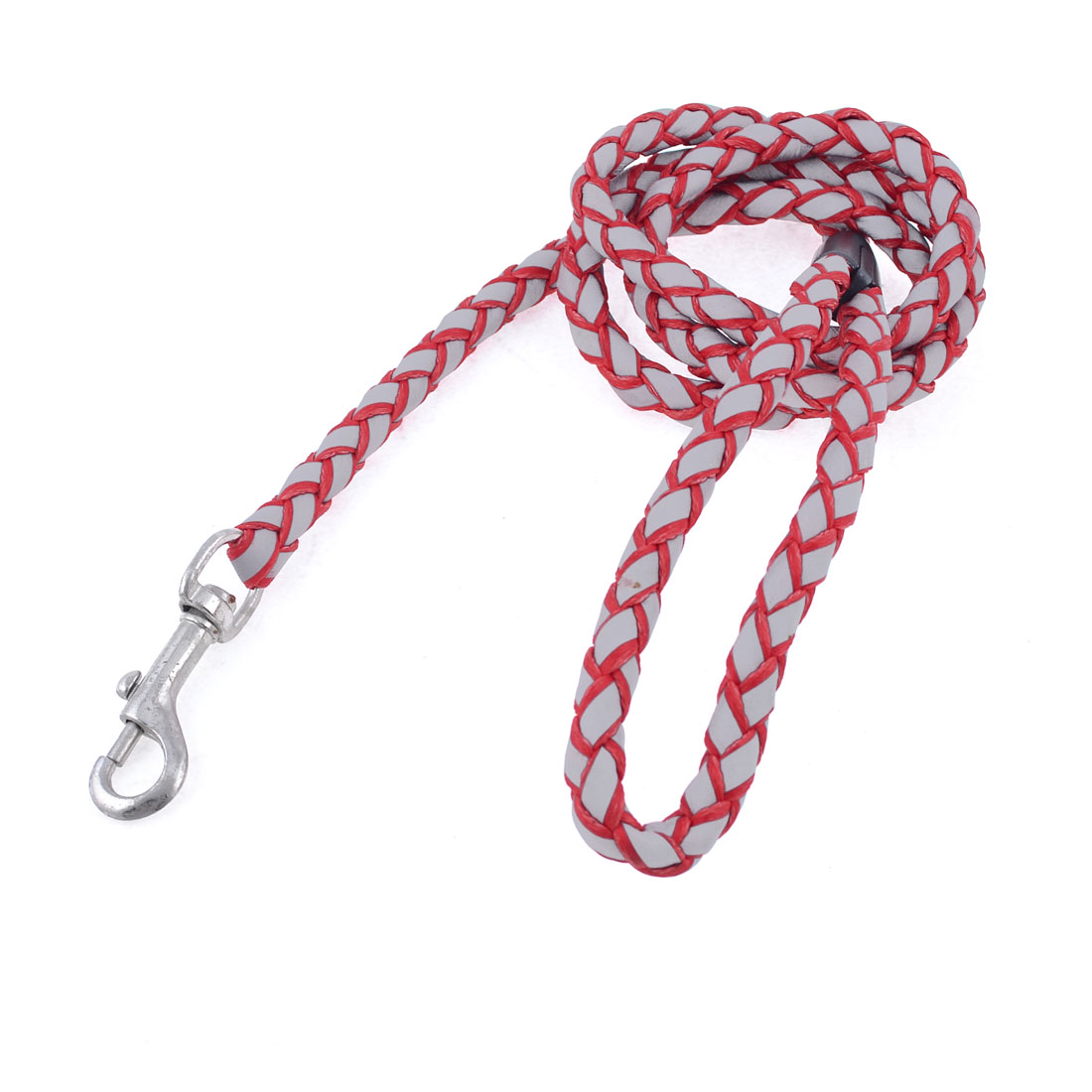 "Red Gray Textured Rope Reflective Pet Dog Pulling Traction Leash 50"" Length"