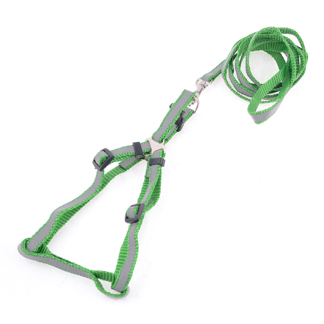 "Green Braided Doggie Rope Adjustable Dog Harness Halter Leash Set 46.1"" Long"