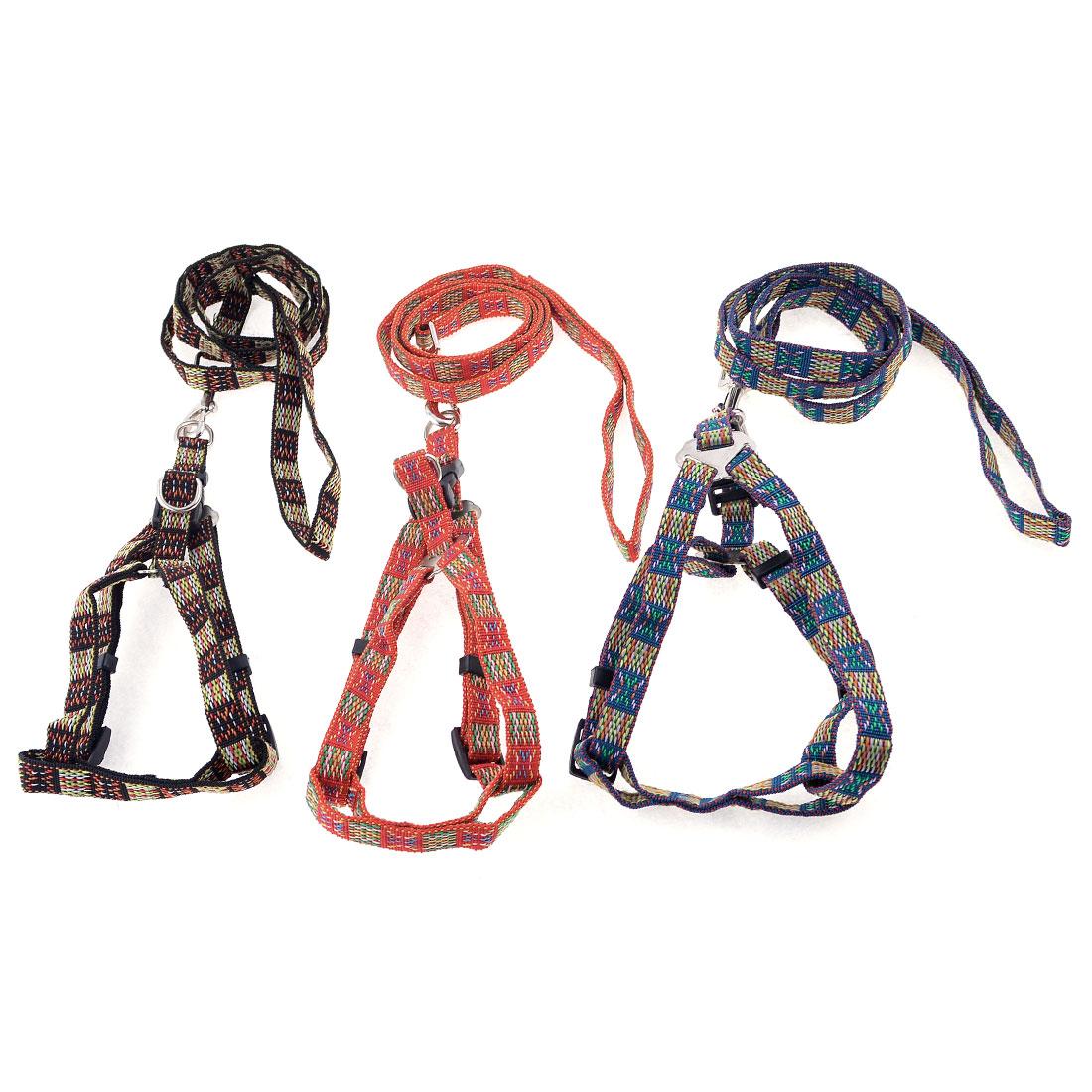 "Adjustable 0.6"" Width Strap Multicolored Dog Puppy Collar Halter Leash Lead 3PCS"