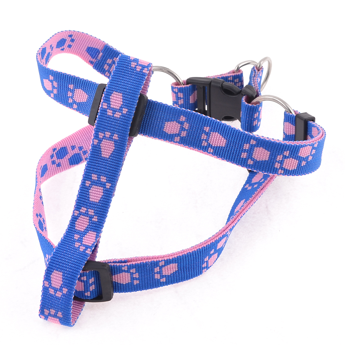 "0.8"" Dia Paw Pattern Blue Adjustable Pet Dog Chest Strap Harness Size L"