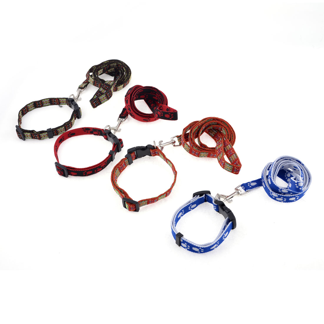 4 Pcs Multicolor Textured Flat Strap Pet Dog Leash 118cm Long w Metal Hook