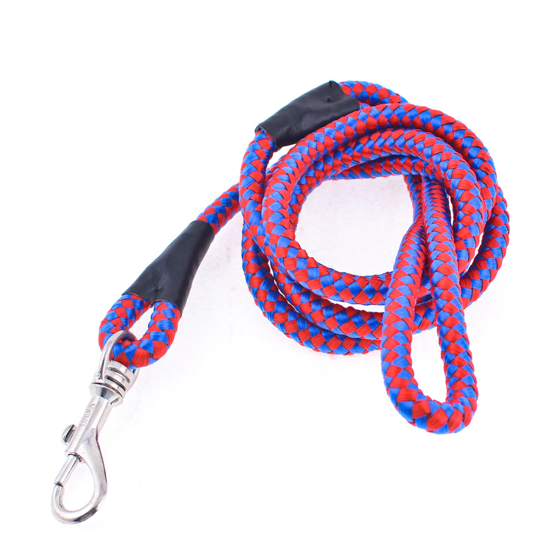 "Red Blue Grid Print Puppy Pet Lobster Clasp Nylon Rope Dog Lead Leash 0.35"" Dia"