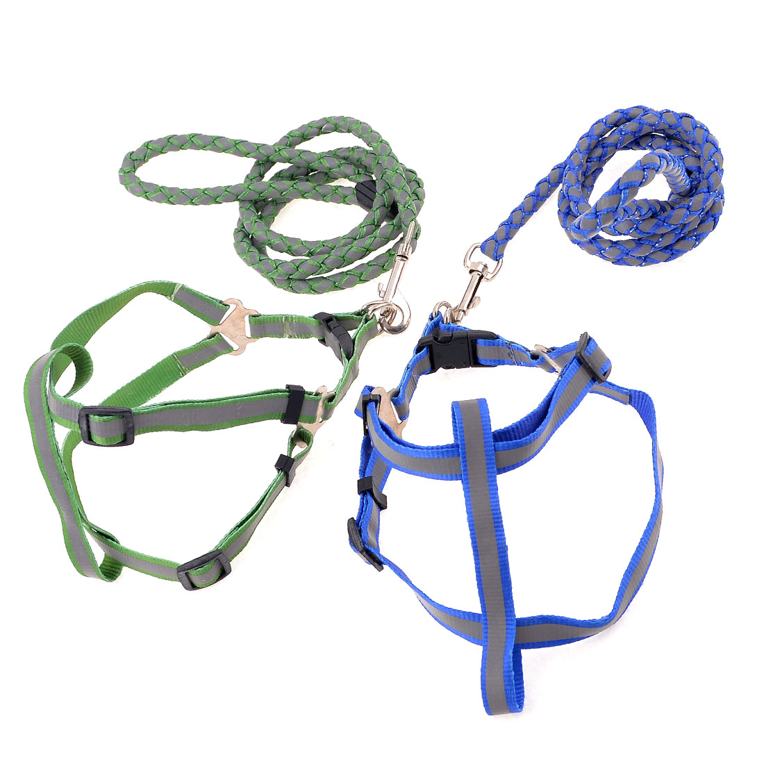 2 Pcs Blue Green Braided Rope Reflective Puppy Dog Harness Leash w Metal Hook