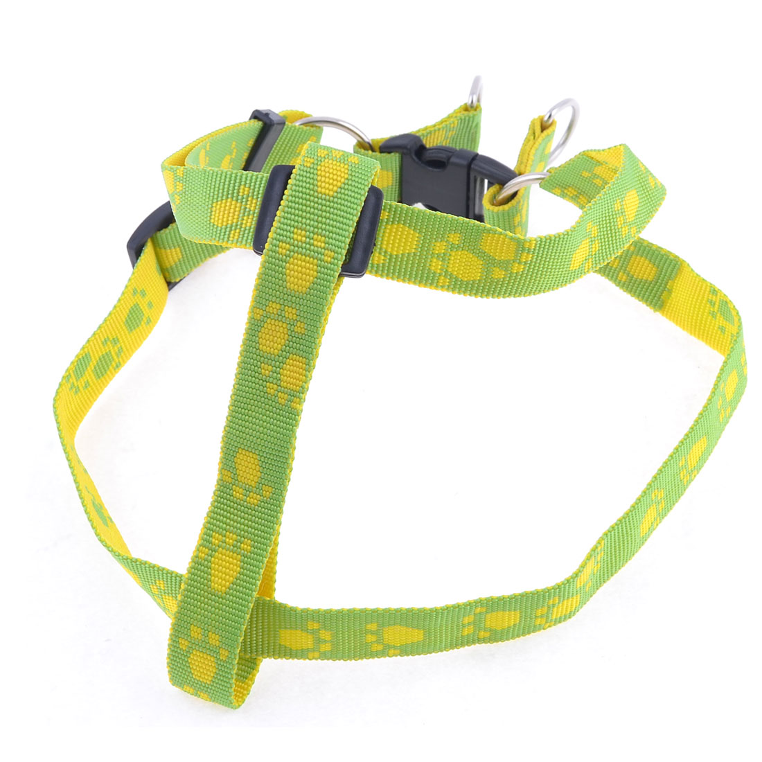 Yellow Paw Pattern Adjustable Doggie Dog Collar Pet Chest Strap Harness Size L