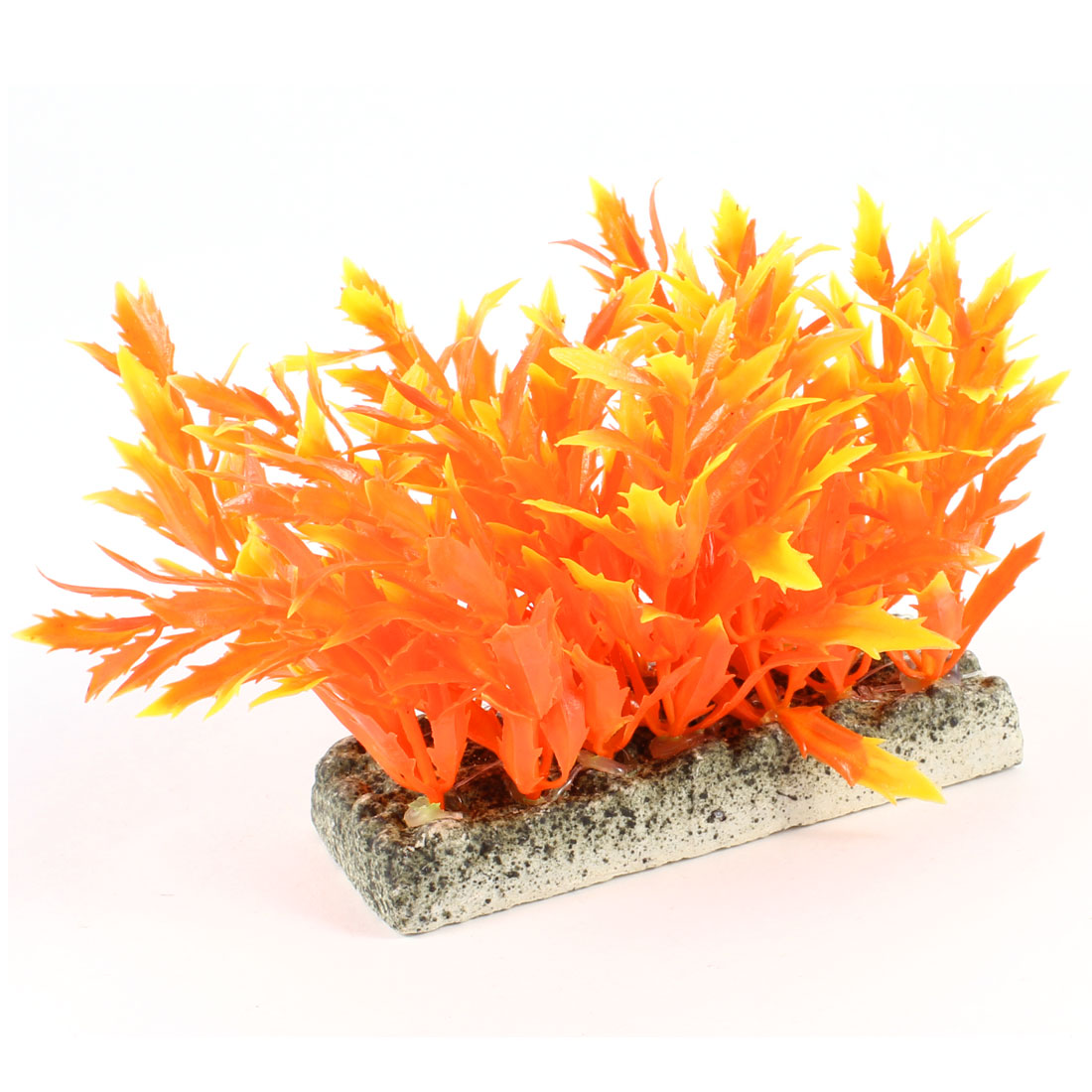 """Orange Red Aquarium Fish Tank Rectangle Ceramic Base Aquatic Grass Plant Decor 3.5"""" High"""