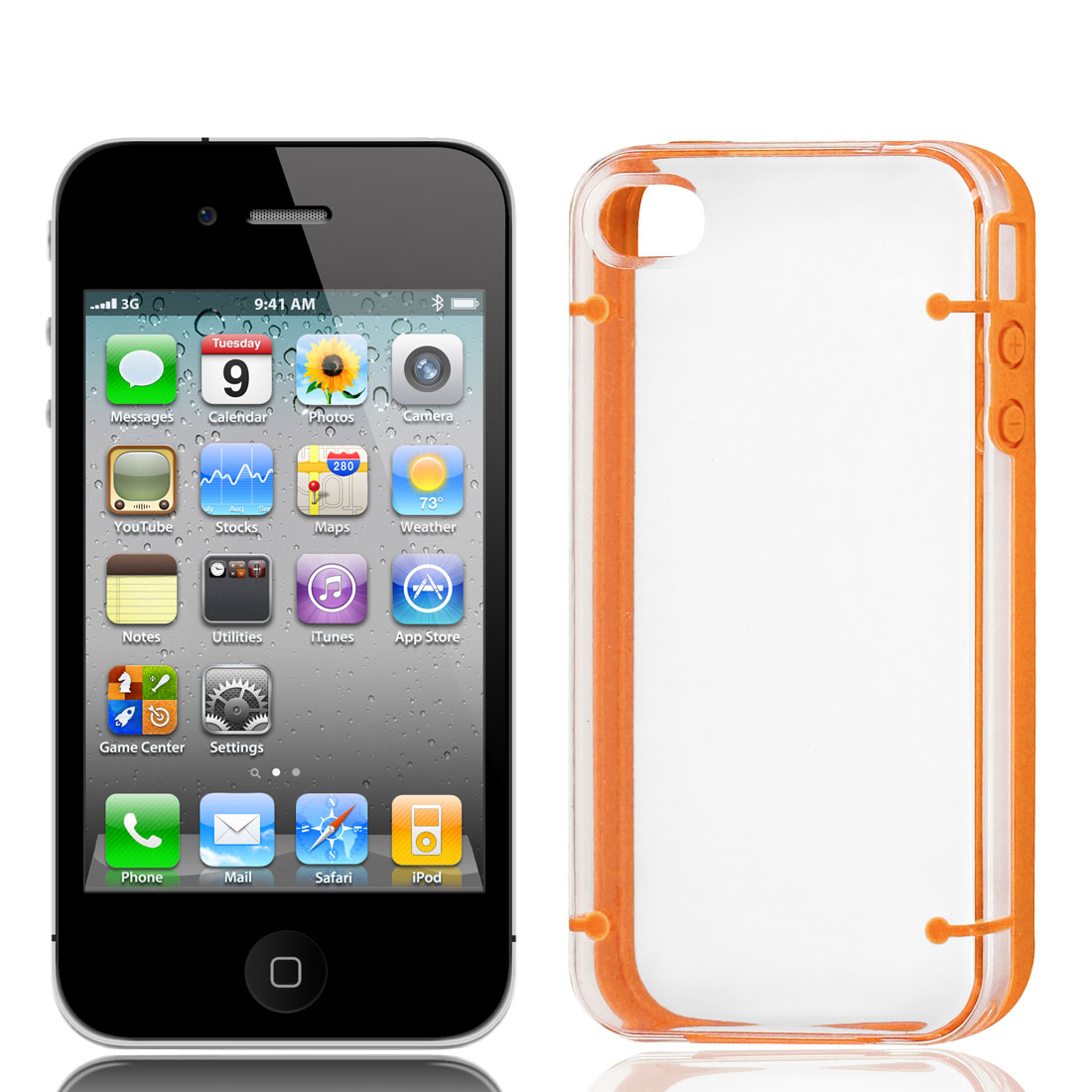 Clear Plastic Orange Rubber Trim TPU Phone Case Guard for iPhone 4 4G 4S 4GS