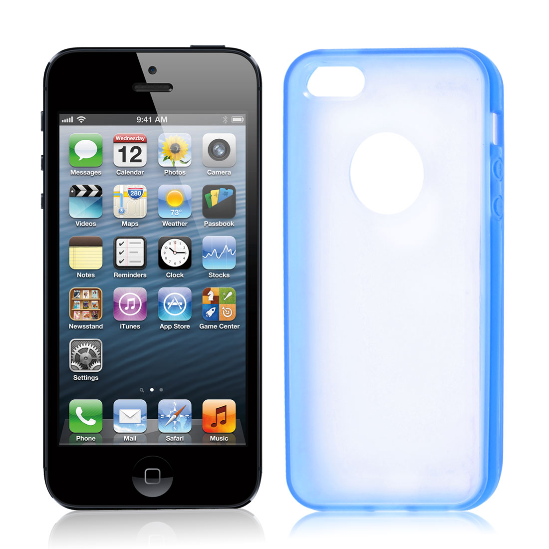 TPU Wire Drawing Plastic Navy Blue Clear Case Guard for Apple iPhone 5 5G