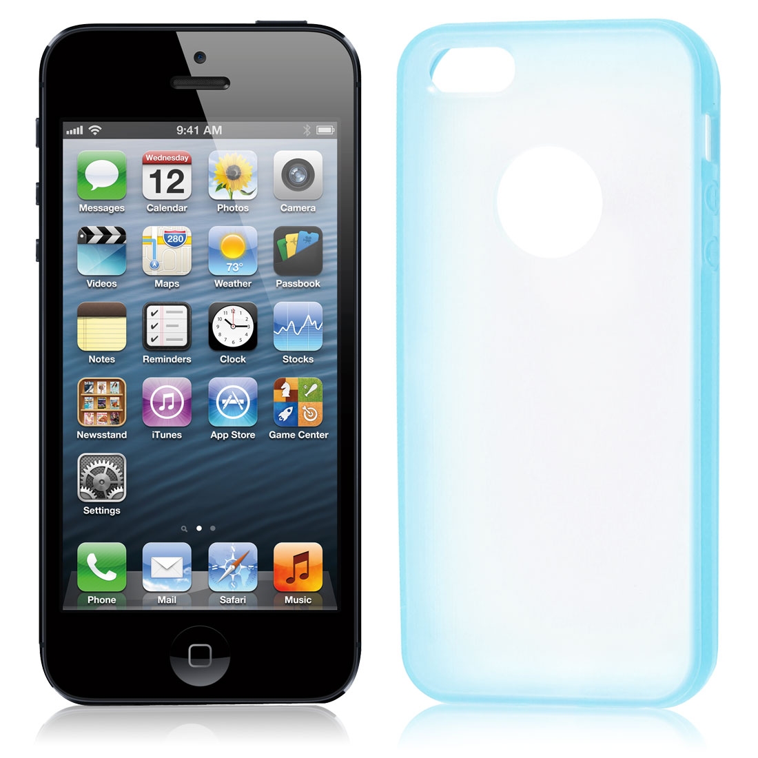 TPU Wire Drawing Plastic Blue Clear Case Guard for iPhone 5 5G 5th