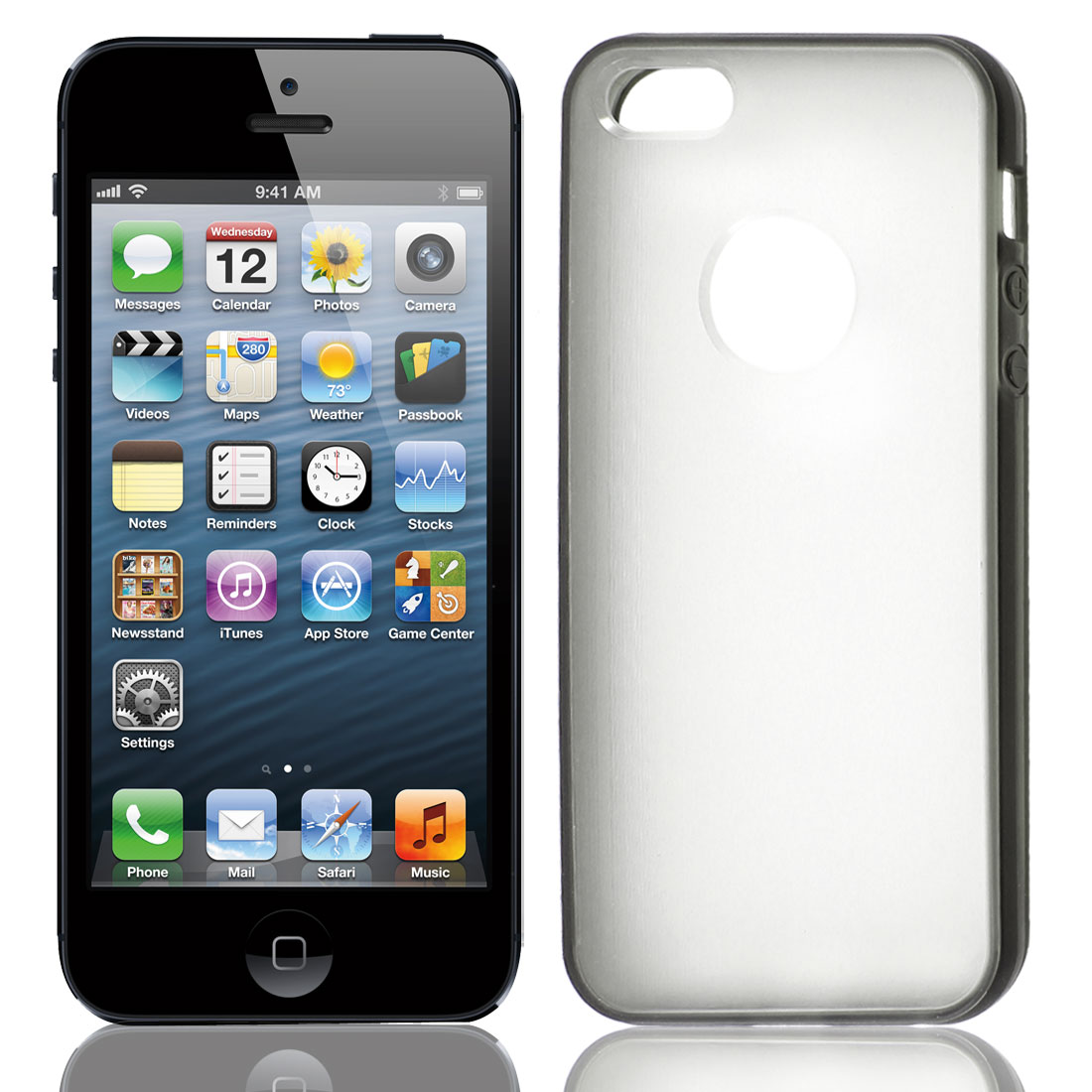 TPU Wire Drawing Plastic Gray Clear Case Guard for Apple iPhone 5 5G