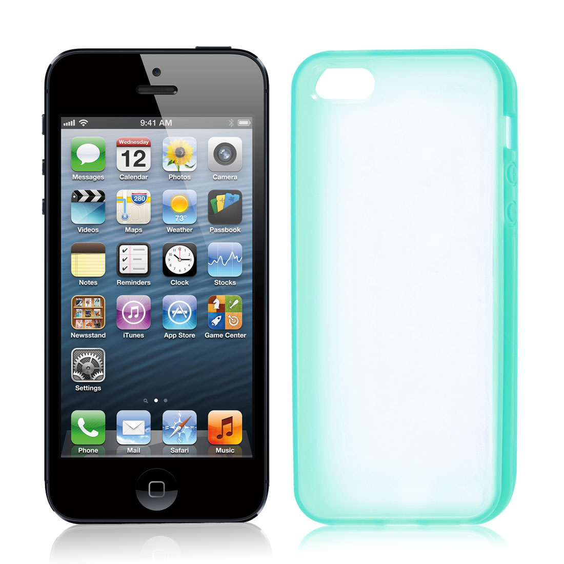 TPU Turquoise Clear Plastic Protective Phone Case Cover for iPhone 5 5G