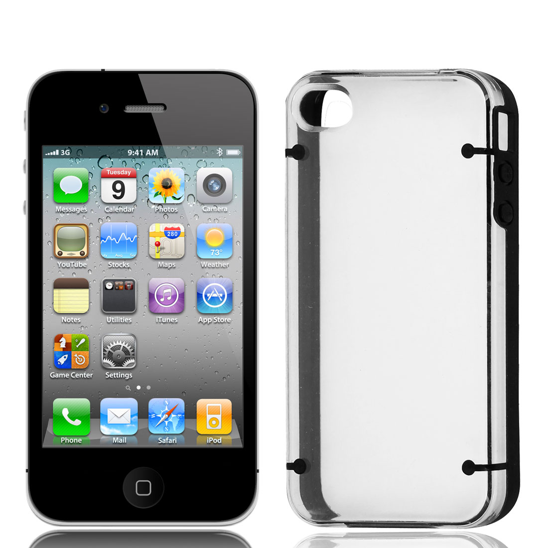 TPU Black Rubber Hem Clear Plastic Phone Case Sleeve for iPhone 4 4G 4S 4GS
