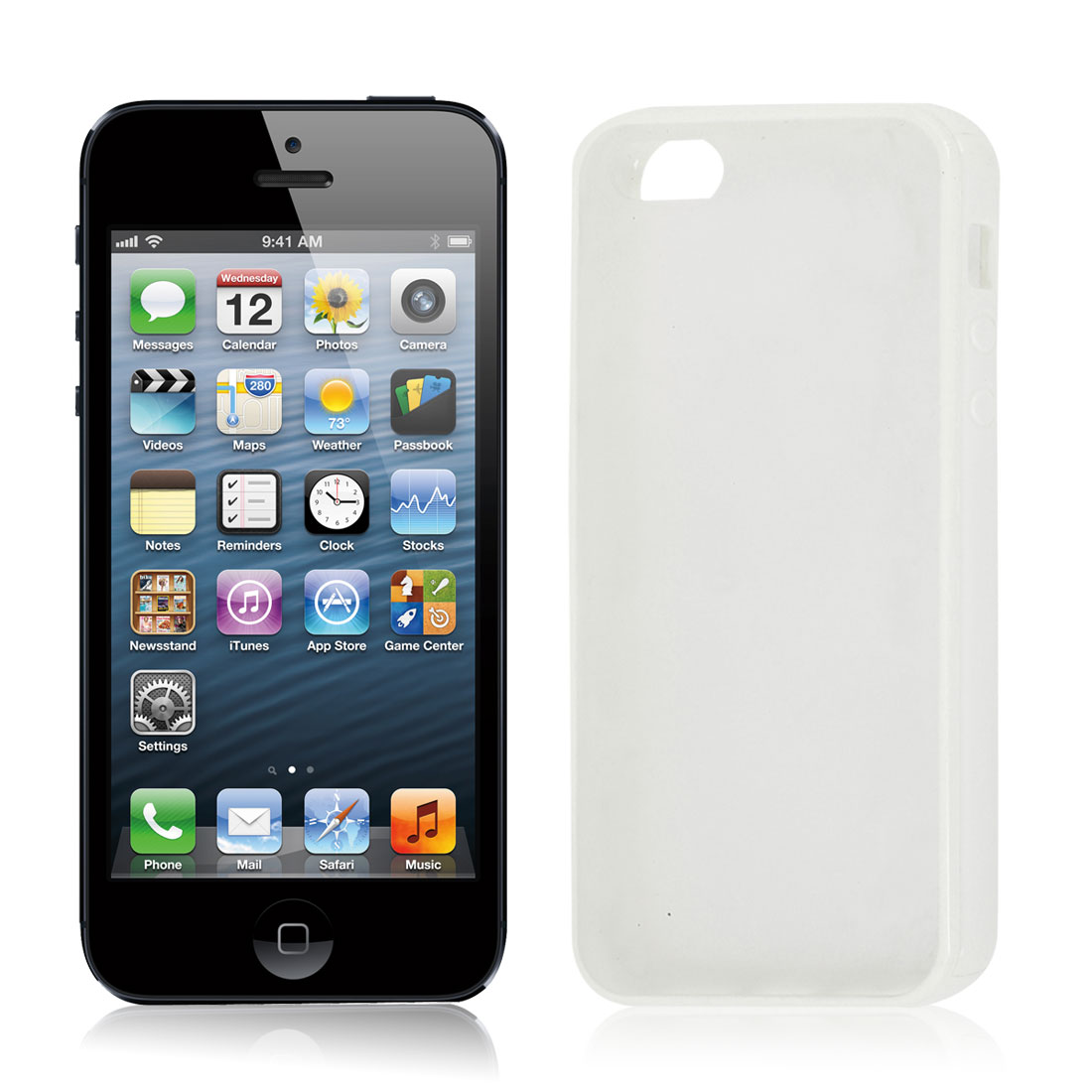 TPU Plastic Rubber Phone Case Protector White Clear for iPhone 5 5G