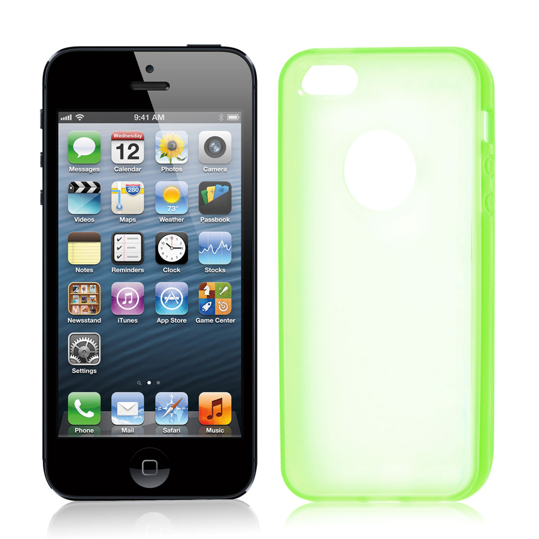 Green Hem Clear Back TPU Pastic Case Cover for iPhone 5 5G