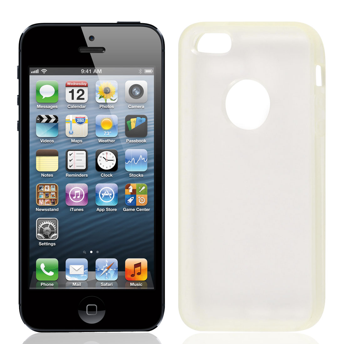 Clear Hem Back TPU Pastic Case Cover for Apple iPhone 5 5G