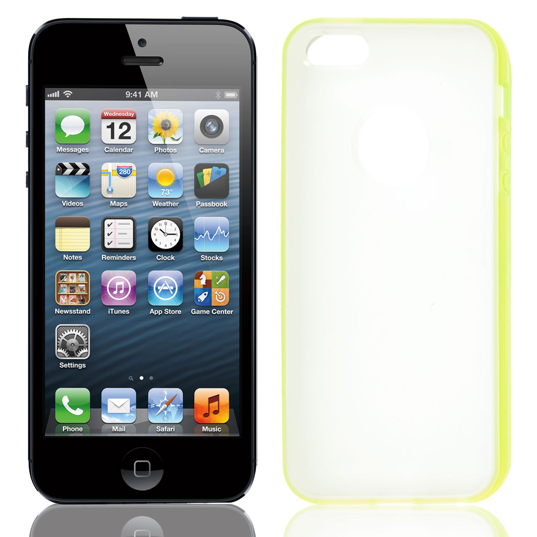 TPU Wire Drawing Plastic Yellow Clear Case Guard for Apple iPhone 5 5G