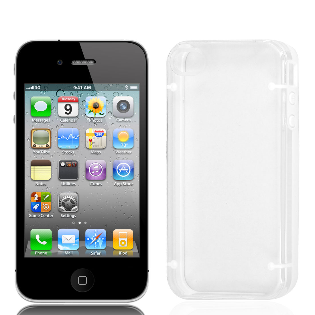 TPU Rubber Plastic Phone Case Protector White Clear for iPhone 4 4G 4S 4GS