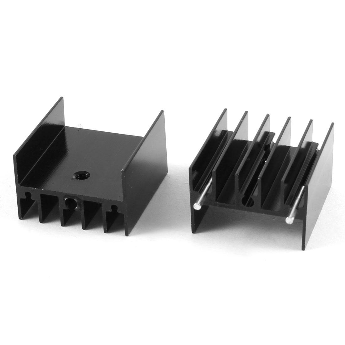 2 Pcs 25mm x 23mm x 15mm Aluminium Heatsink Radiating Cooler Cooling Fin Black