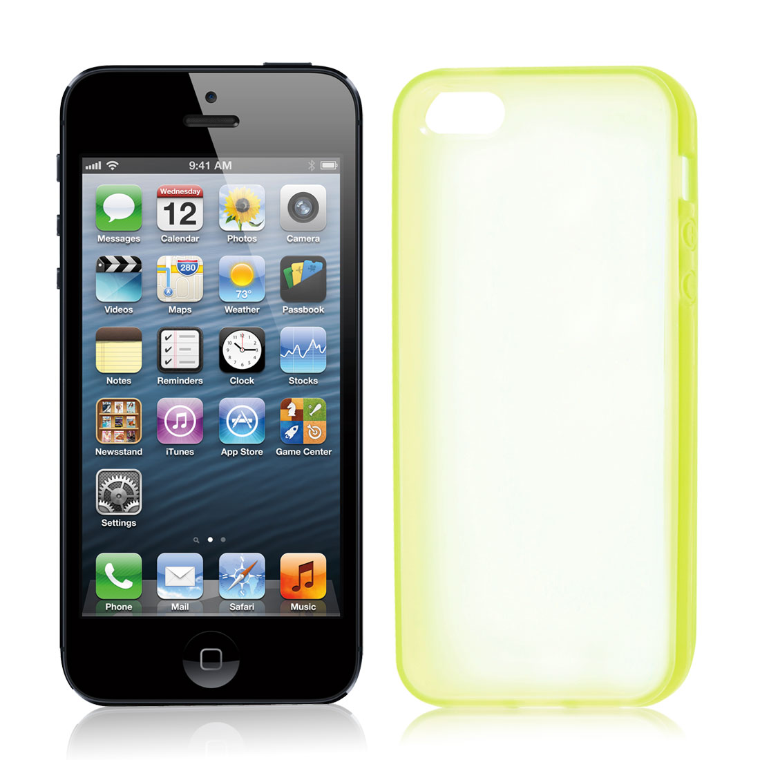 TPU Plastic Rubber Phone Case Protector Yellow Green Clear for iPhone 5 5G
