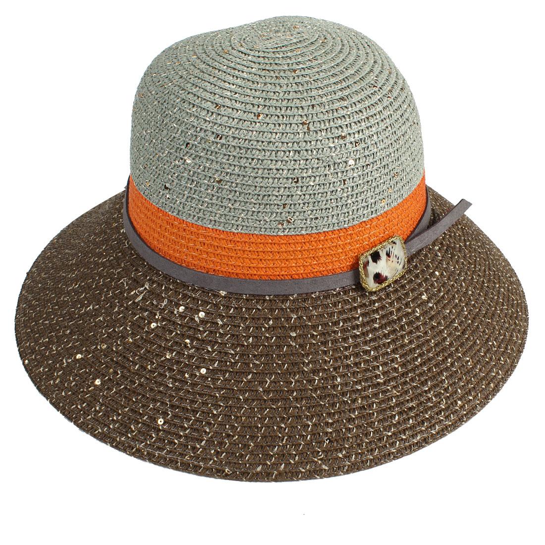 Ladies Sequins Decor Round Brim Bucket Style Beach Straw Hat Chocolate Color
