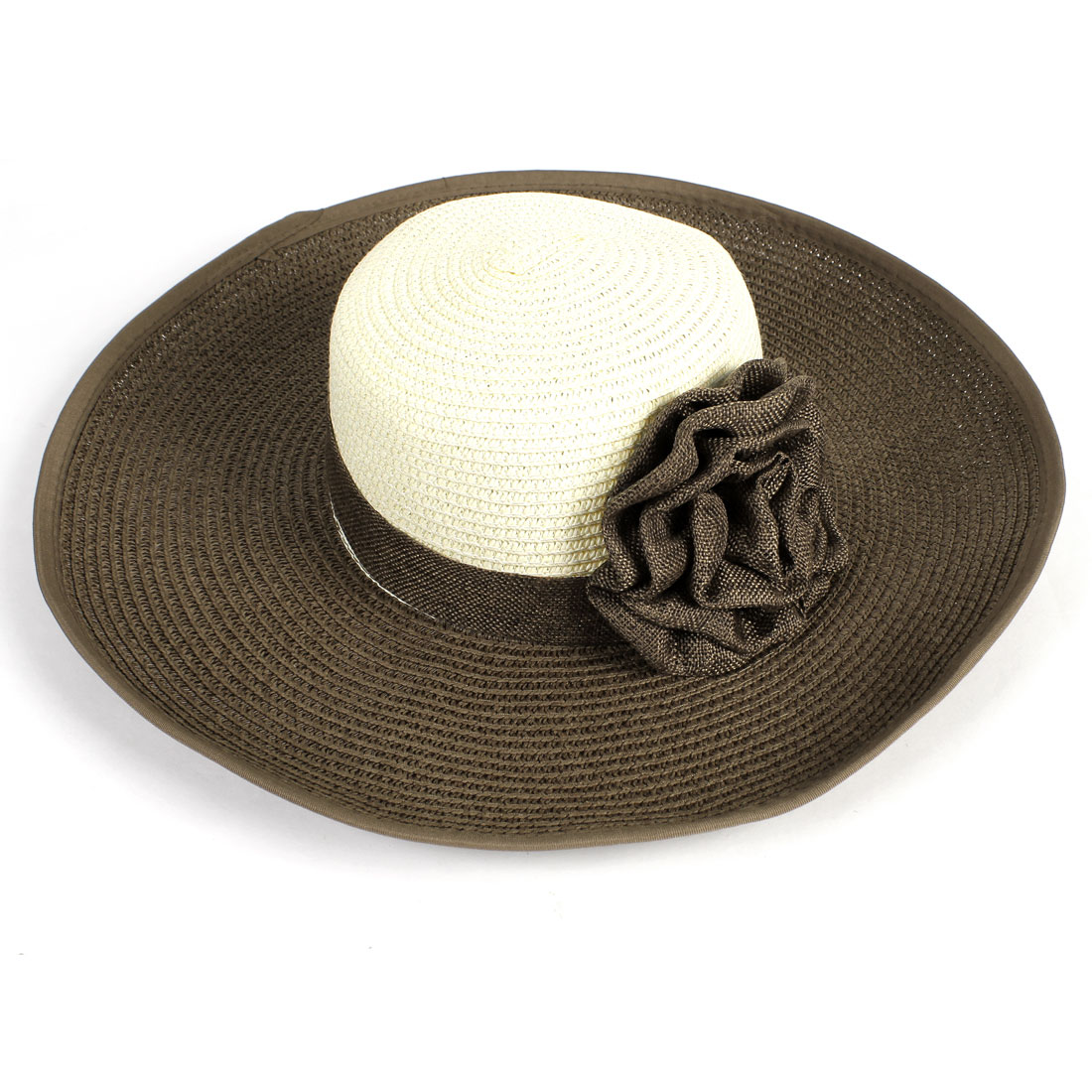 Woman Nylon Flower Detail Wide Brim Beach Straw Hat Cap Dark Brown Beige