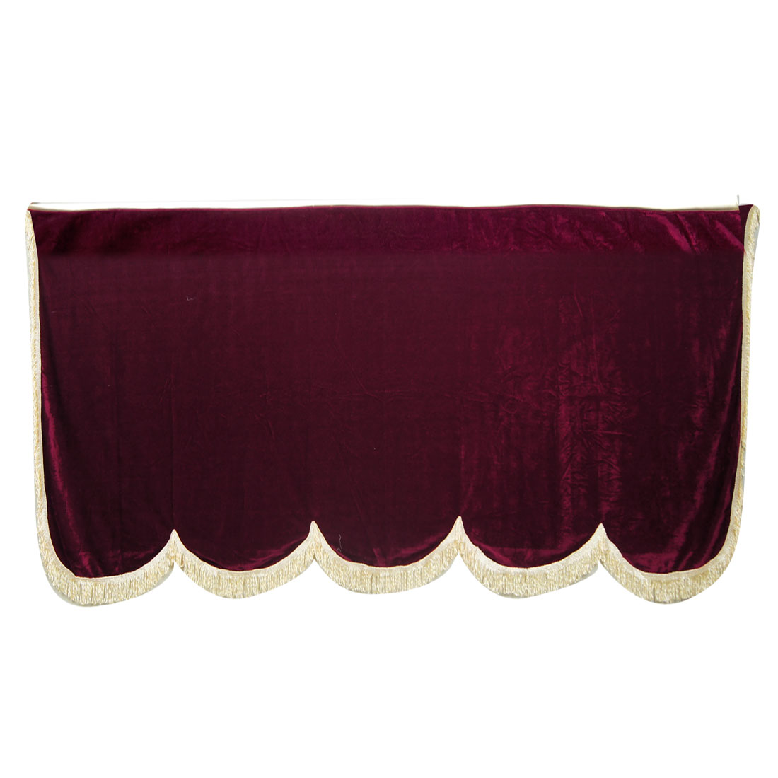 Beige Tassels Frame Burgundy Piano Protector Full Cover 146x138x17cm