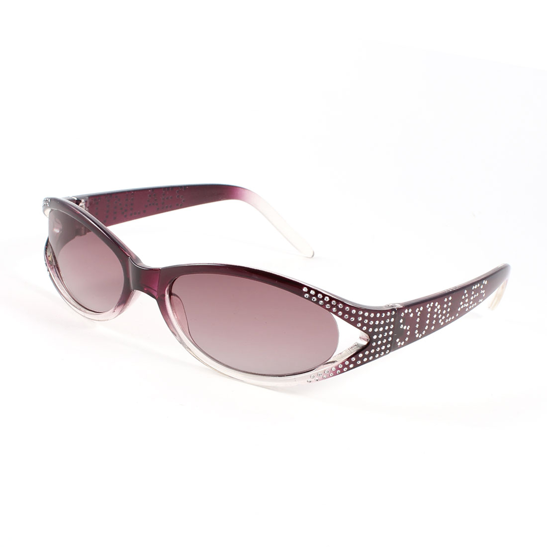 Clear Violet Lens Letter Rhinestone Decor Full Rim Sunglasses for Woman