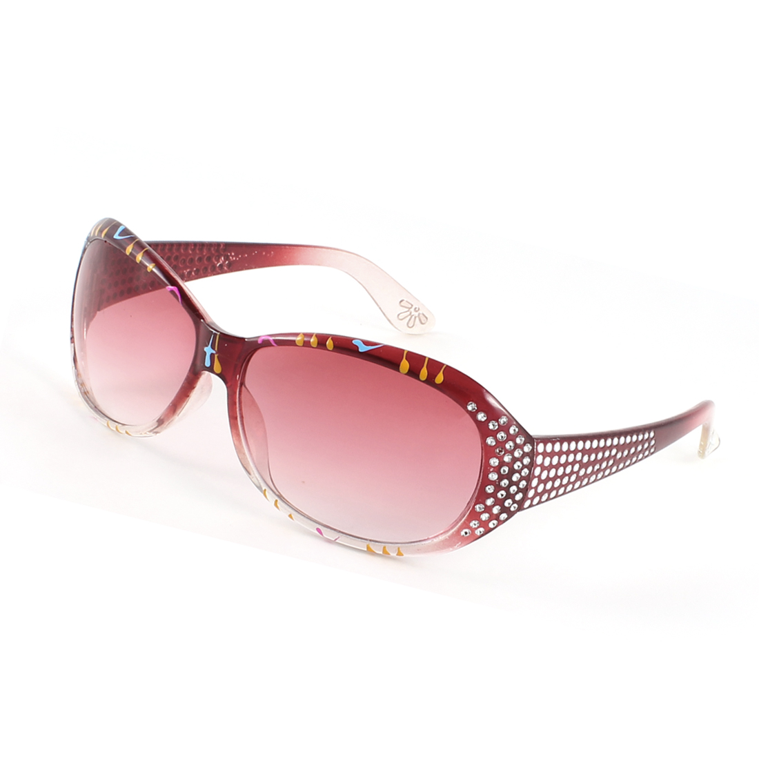 Lady Outdoor Orange Red Arm Full Frame Tinted Lens Rhinestone Inlaid Sunglasses