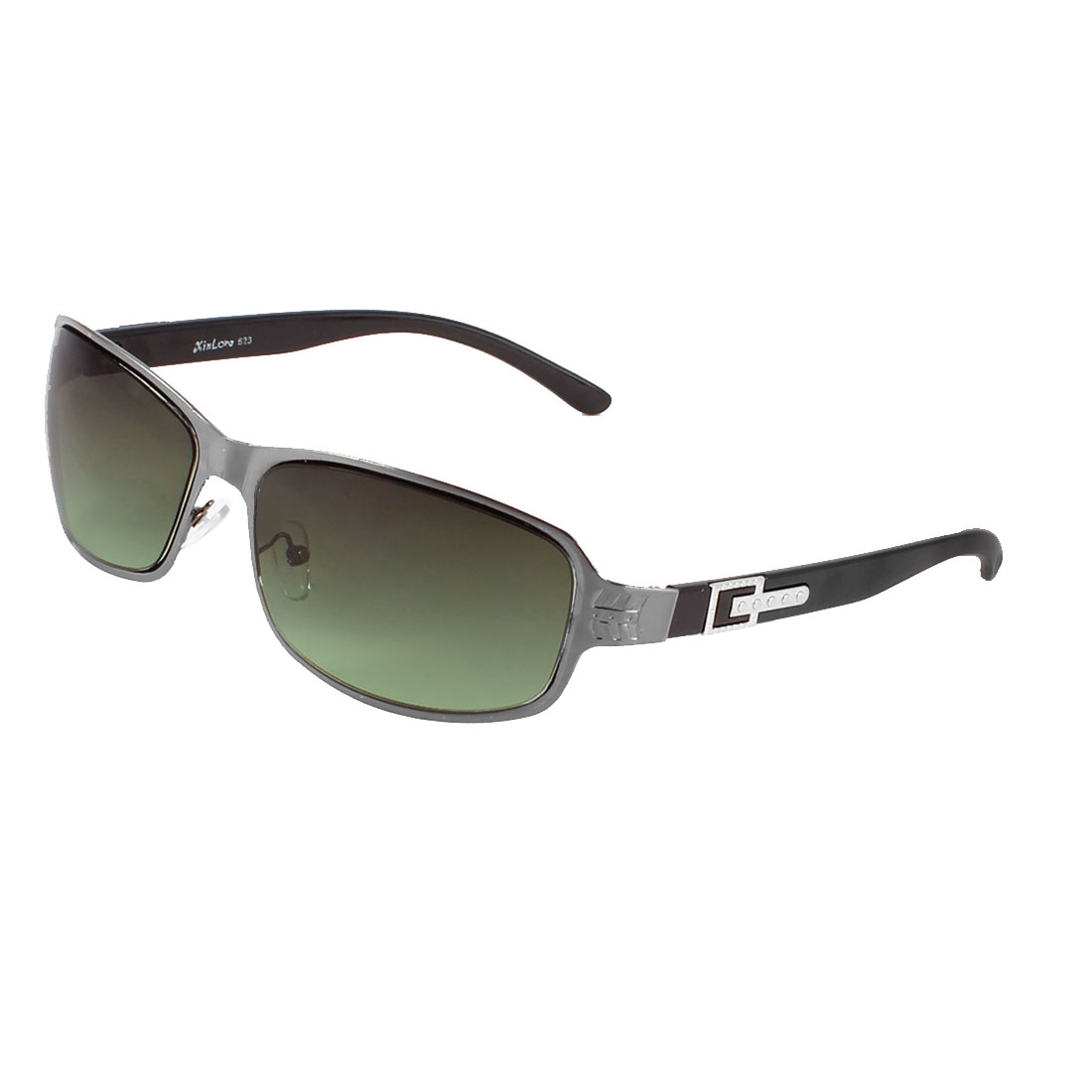 Man Outdoor Rectangle Clear Amry Green Lens Black Full Rims Sunglasses