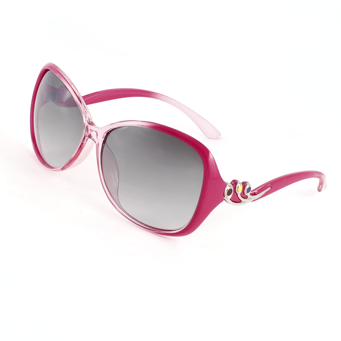Woman Floral Decor Full Frame Tinted Color Lens Sunglasses Fuchsia