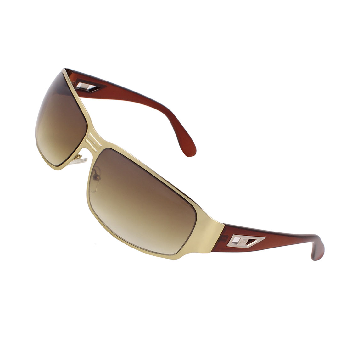 Colored Lens Single Brige Silver Tone Frame Sport Sunglasses Brown for Man