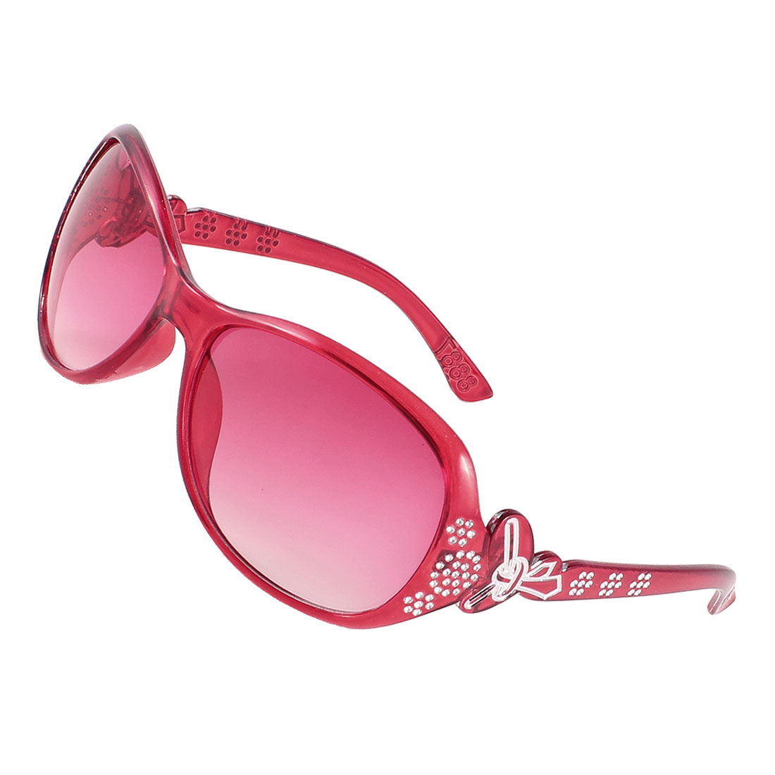 Clear Red Lens Rhinestone Decor Single Brige Sunglasses Red for Women