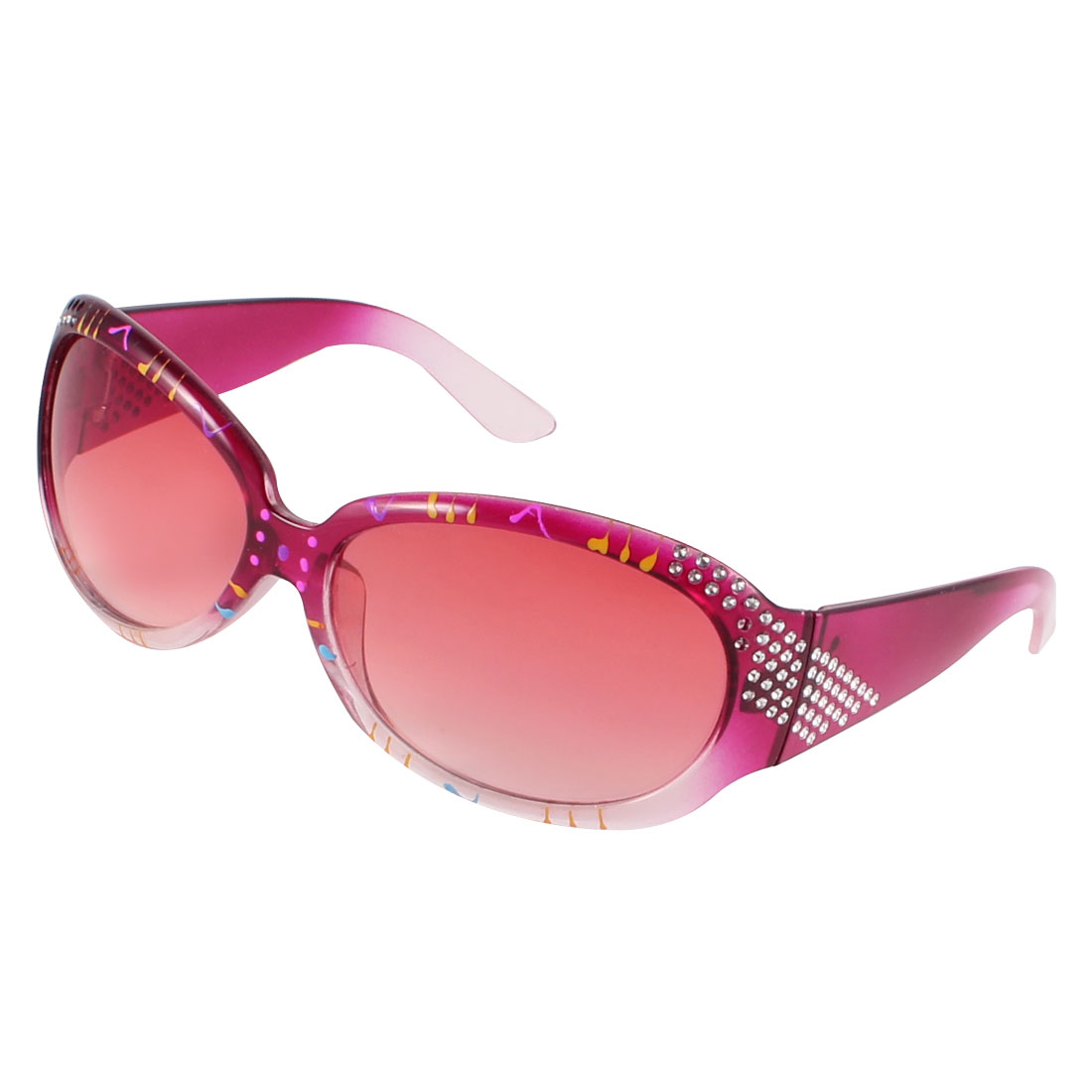 Lady Outdoor Fuchsia Arm Full Frame Tinted Lens Rhinestone InlaidSunglasses