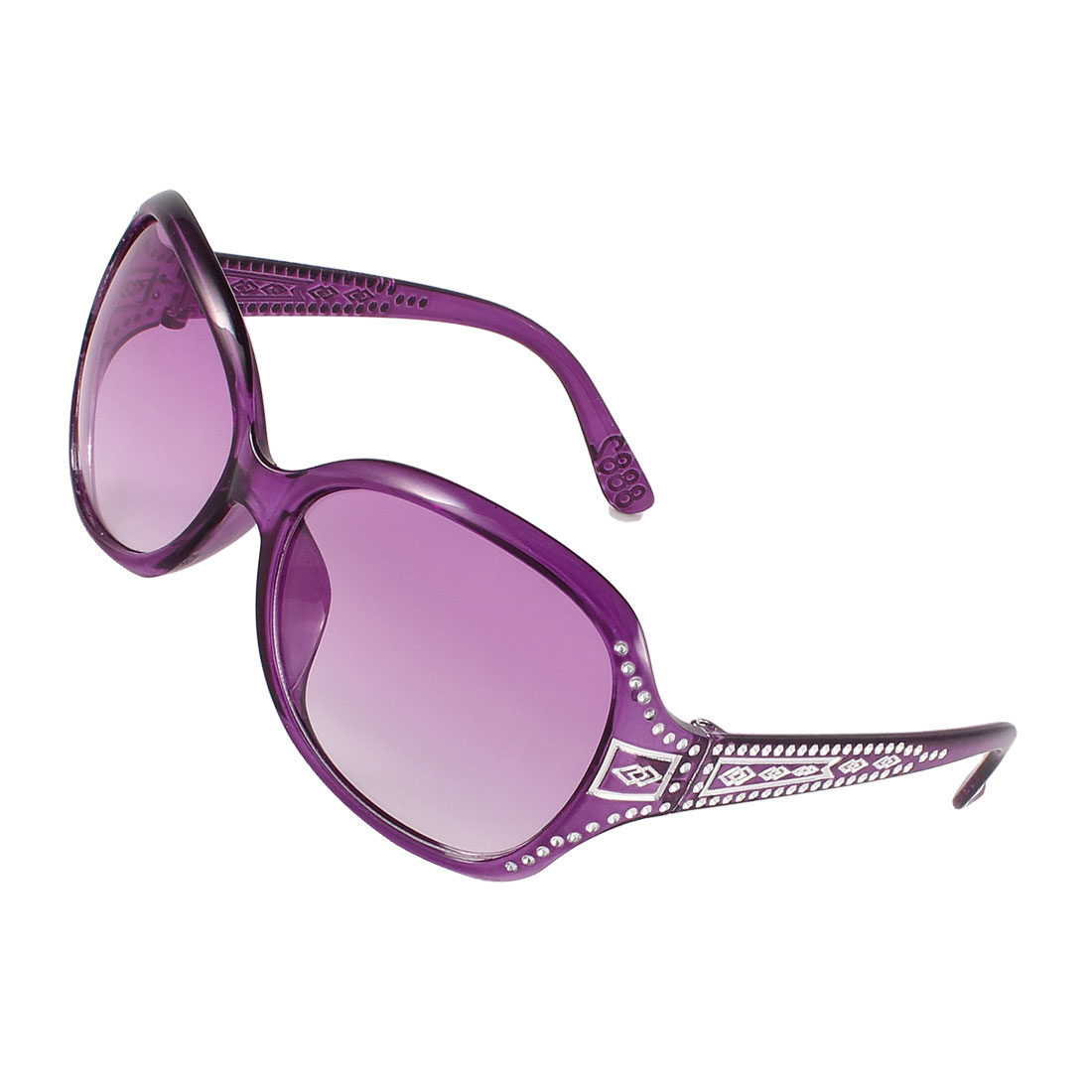 Clear Purple Lens Rhinestone Decor Sunglasses Purplefor Women