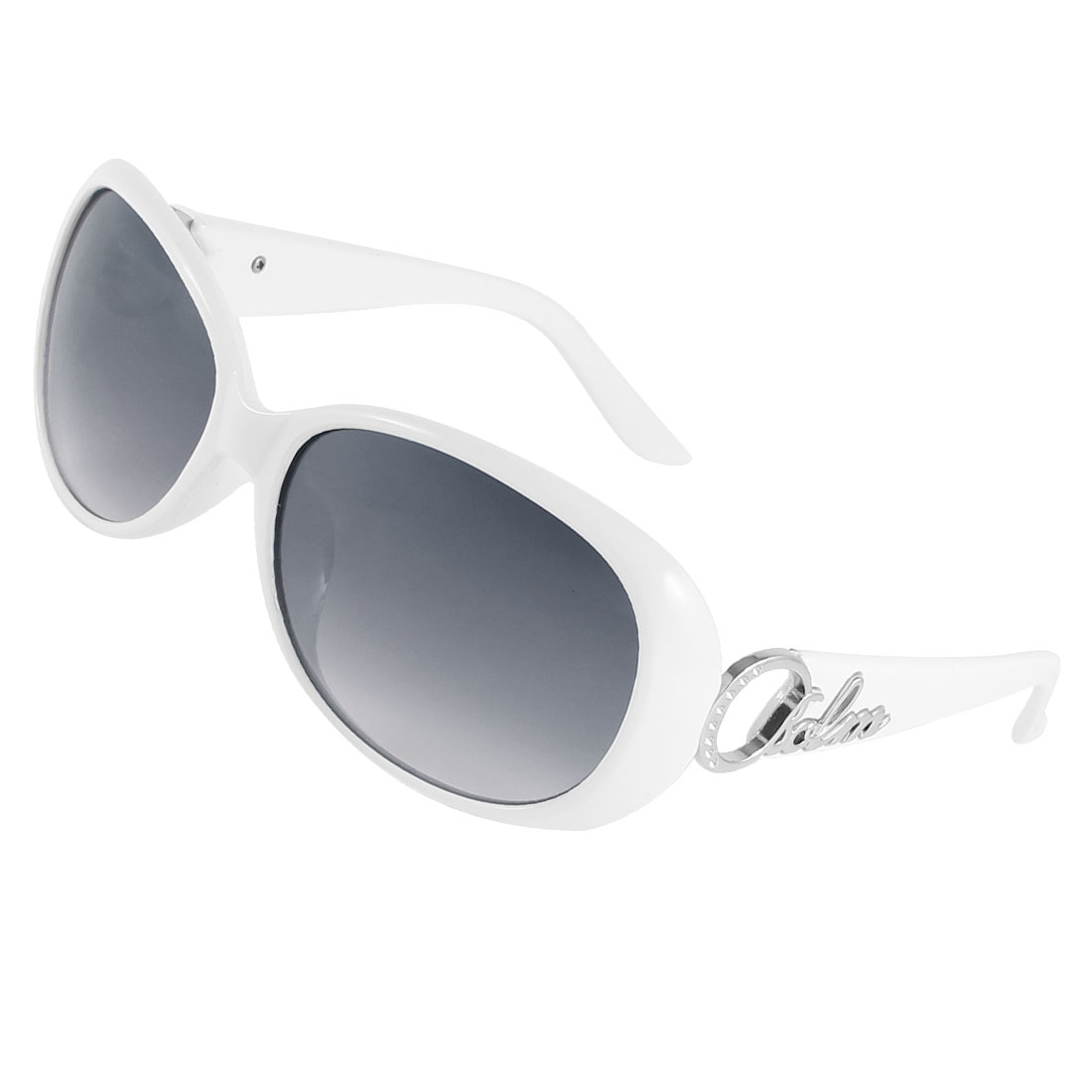 White Hollow Out Design Single Brige Colored Lens Sunglasses for Woman Lady