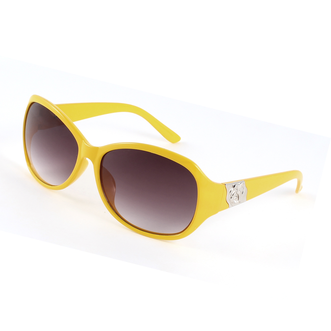 Lady Outdoor Yellow Frame Full Rim Tinted Lens Sunglasses