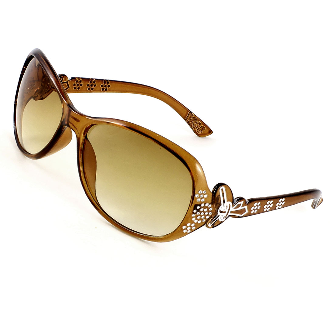 Olive Yellow Single Brige Digital Rhinestone Decor Full Frame Sunglasses