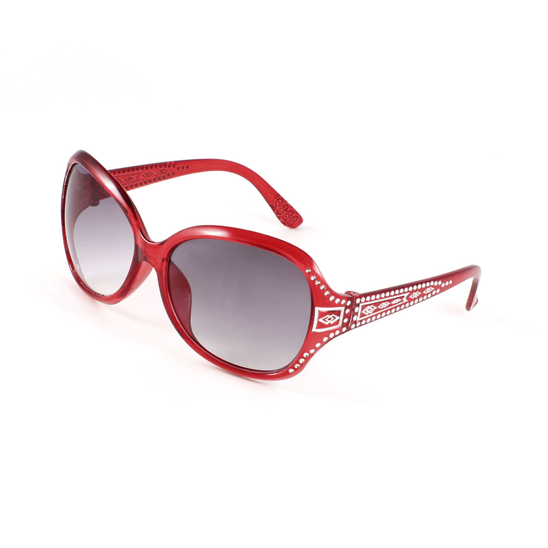 Lady Outdoor Carmine Arm Full Frame Tinted Lens Rhinestone Inlaid Sunglasses