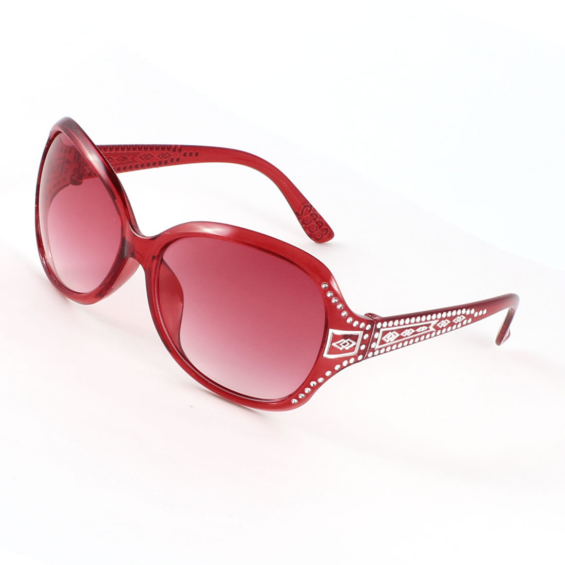 Lady Outdoor Burgundy Arm Full Frame Tinted Lens Rhinestone Inlaid Sunglasses