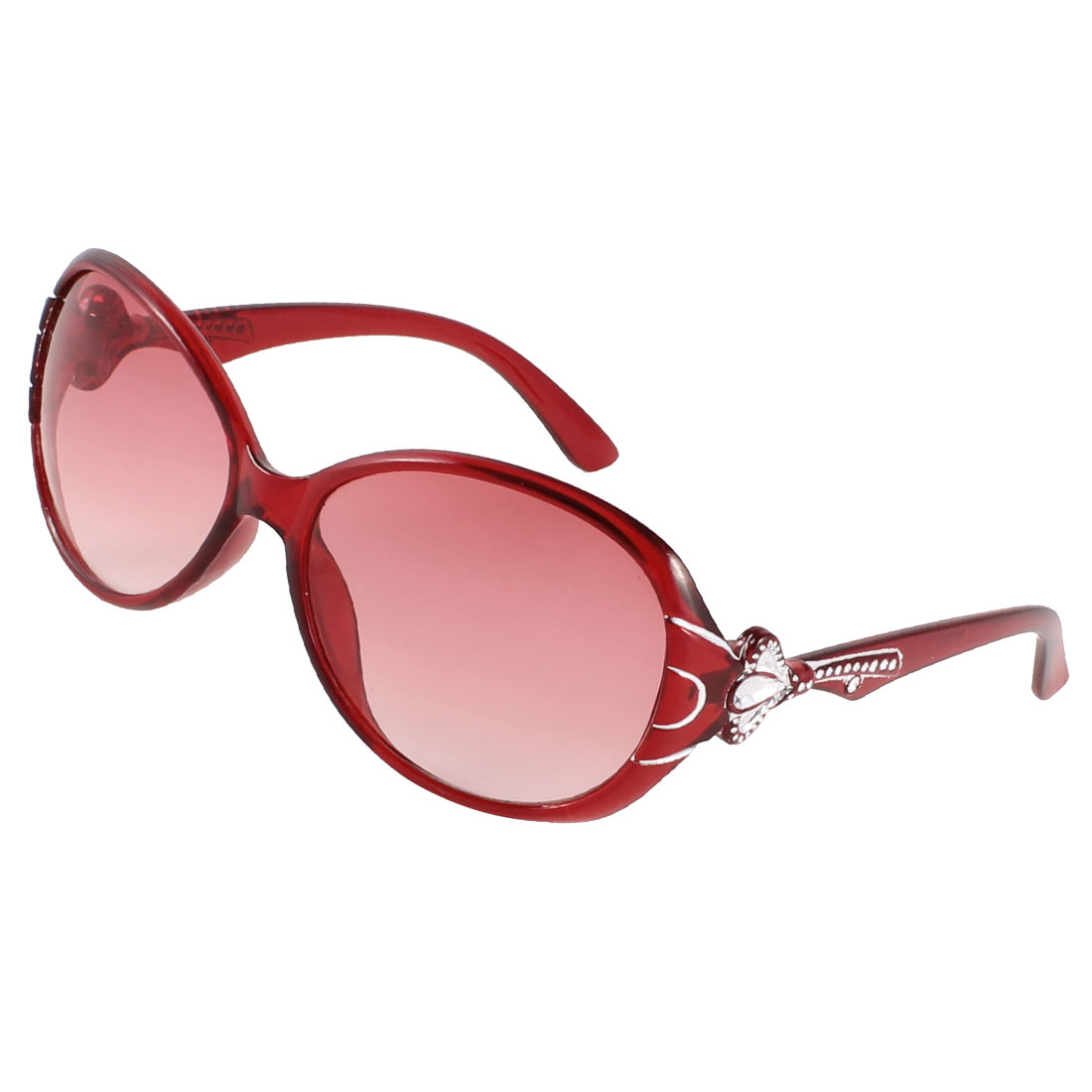 Dark Red Arm Full Frame Single Brige Clear Dark Red Lens Sunglasses for Woman
