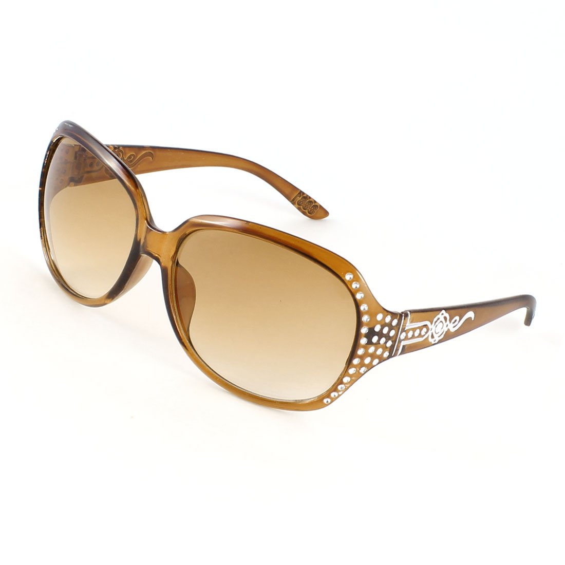 Woman Coffee Color Rhinestone Decor Single Brige Full Frame Sunglasses