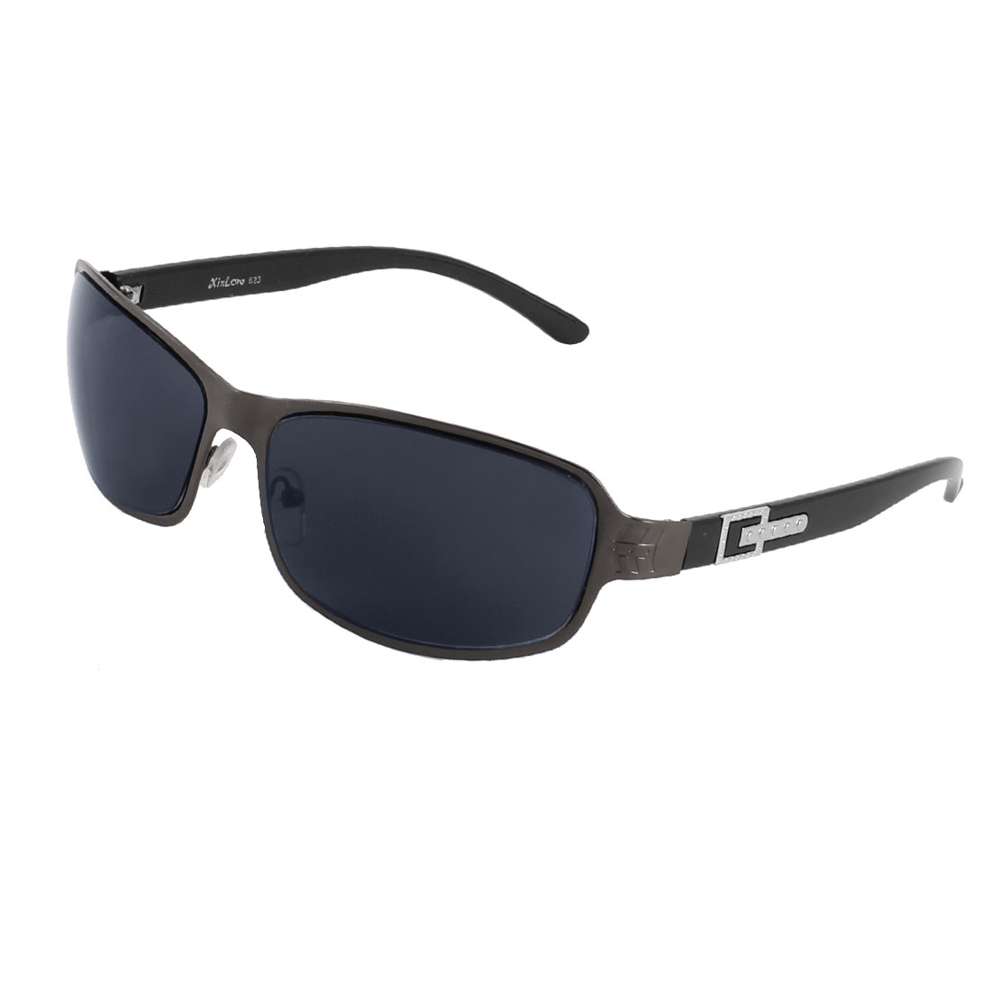 Man Outdoor Rectangle Tinted Color Lens Black Full Rims Sunglasses