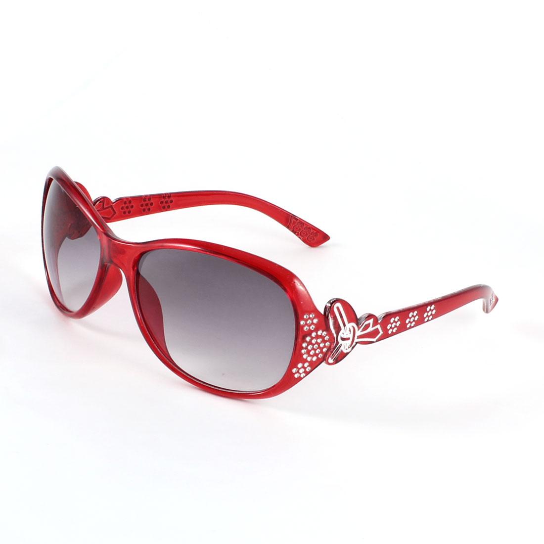 Clear Carmine Lens Rhinestone Letter Decor Sunglasses Carmine for Women