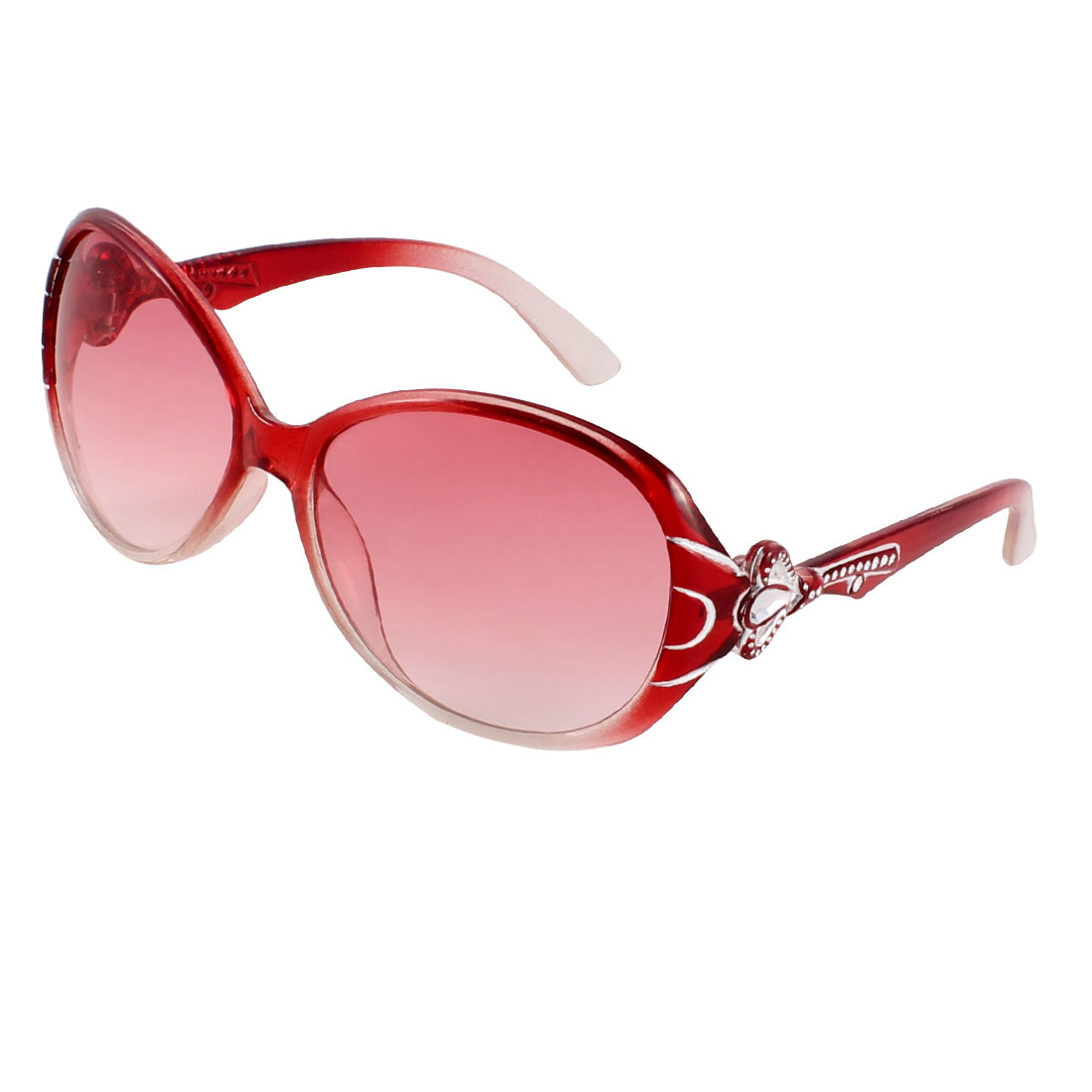 Red Arm Full Frame Single Bridge Clear Red Lens Sunglasses for Woman