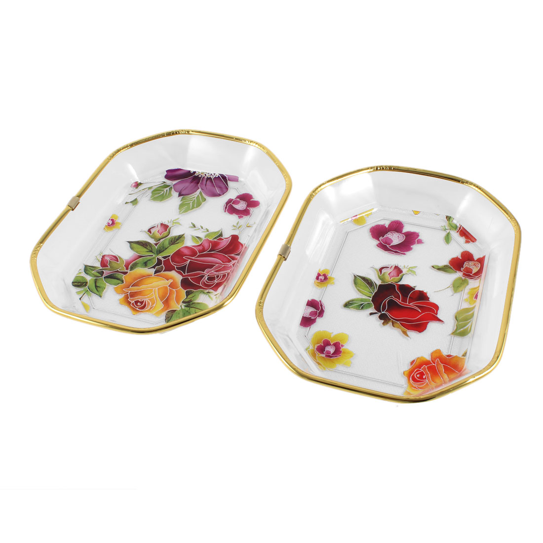 Polygon Gold Frame Floral Printed Fruit Vegetable Plate Container
