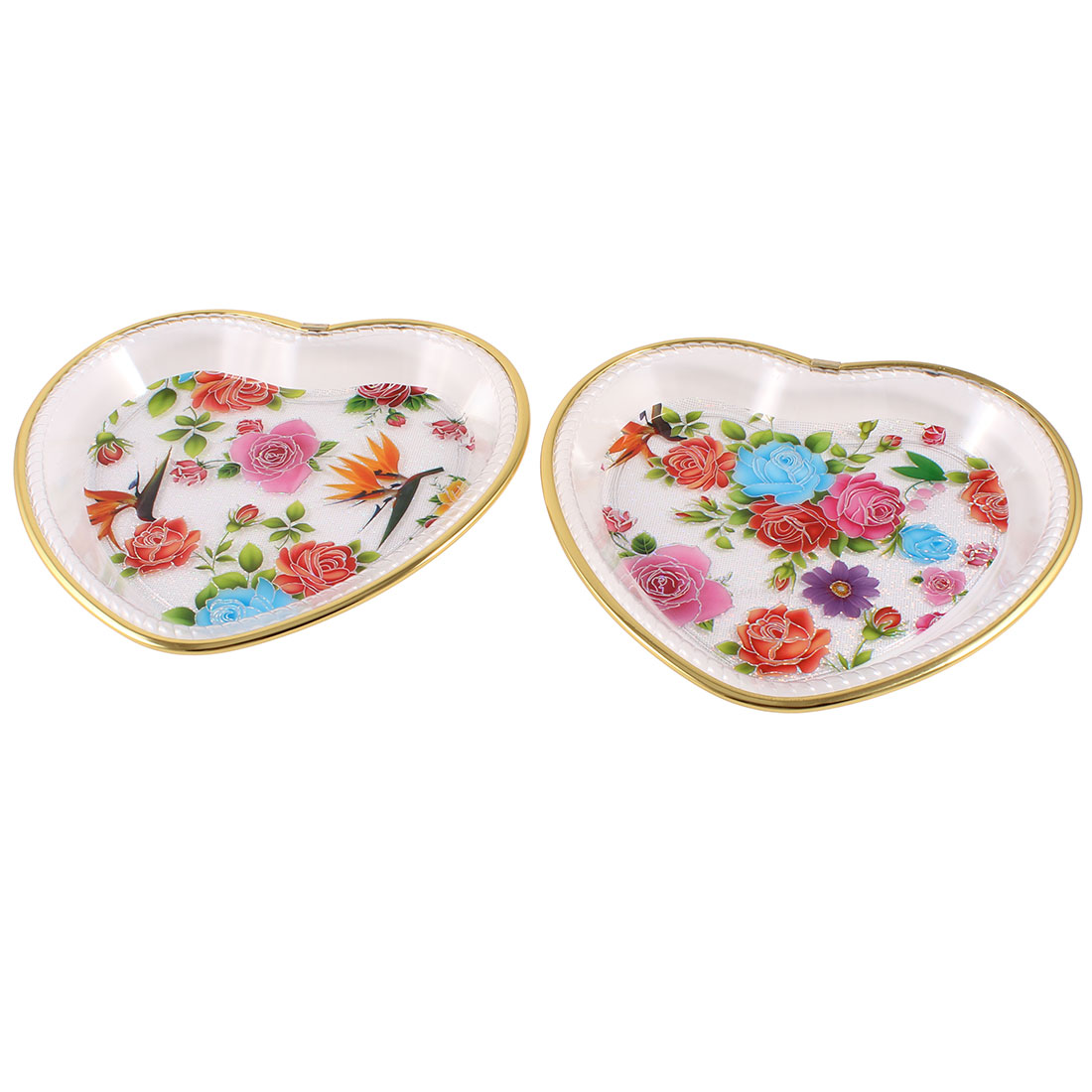 Household Heart Gold Tone Frame Plastic Colorful Floral Pattern Fruit Plate